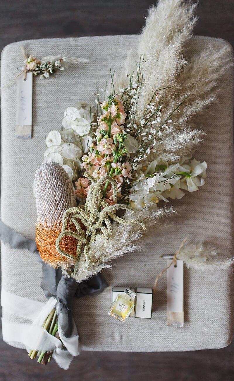 Hochzeitsblumen Trends, Trockenblumen Hochzeit Brautstrauß