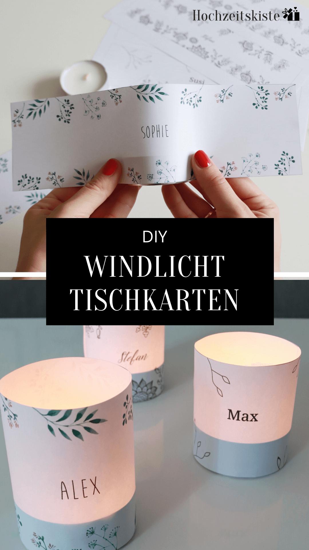 Windlicht Tischkarten zur Hochzeit
