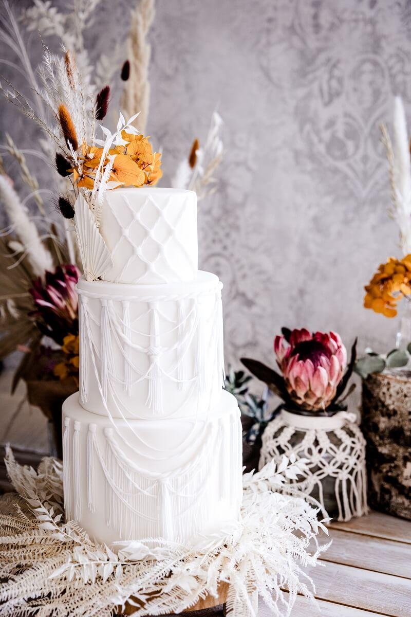 Boho Makramee Hochzeitstorte
