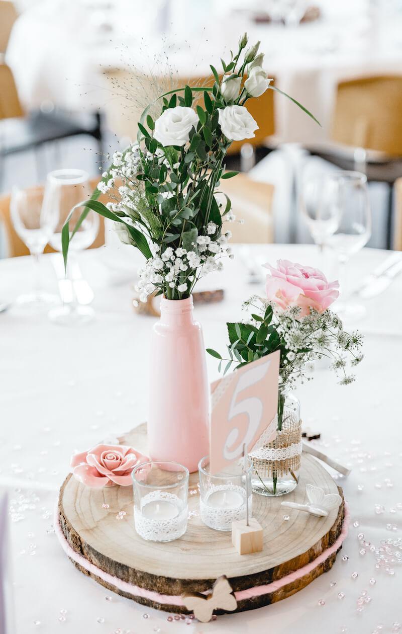 DIY Tischdeko rosa