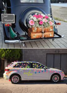Hochzeitsauto Autoschmuck