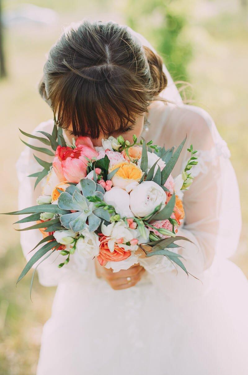 Brautstrauß mit Sukkulente