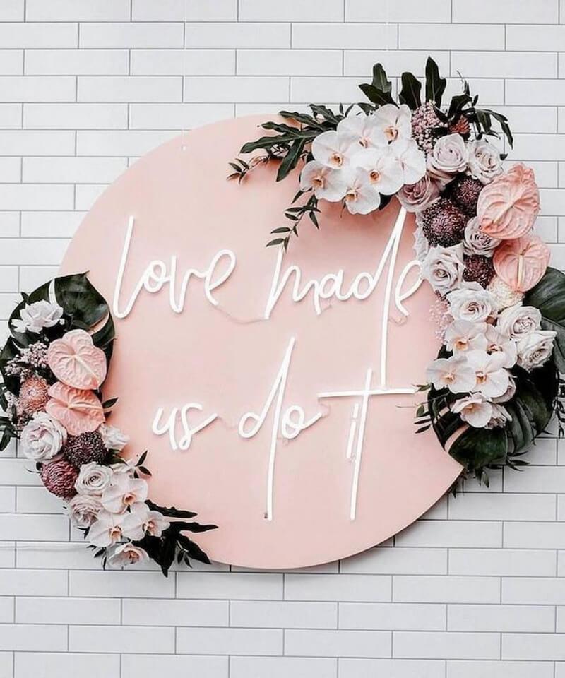 Hochzeitsschild Leuchtbuchstaben