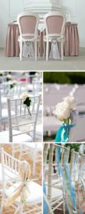 Stuhldeko Hochzeit, Stuhldekoration Hochzeit, Hochzeitsdeko Stühle