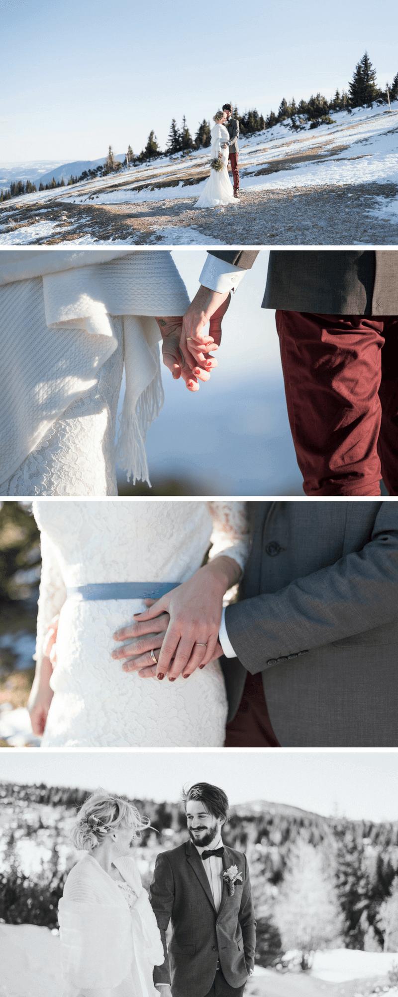Hochzeit im Winter, Brautpaarshooting Winter, Winterhochzeit