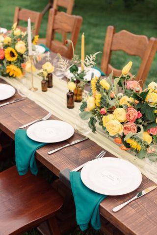 Tischdeko gelb, Hochzeittischdeko, Sommerhochzeit