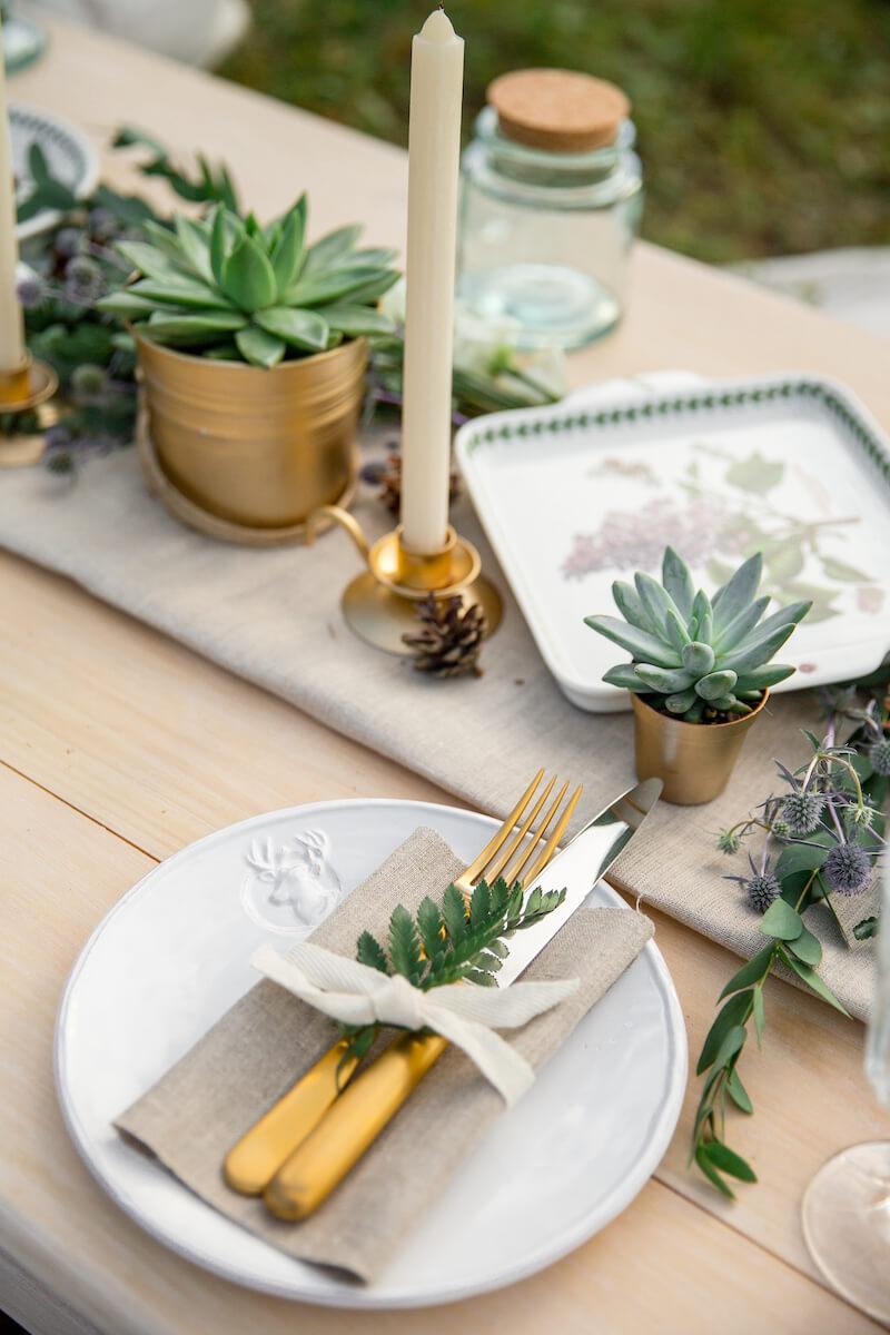Tischdeko mit Sukkulenten
