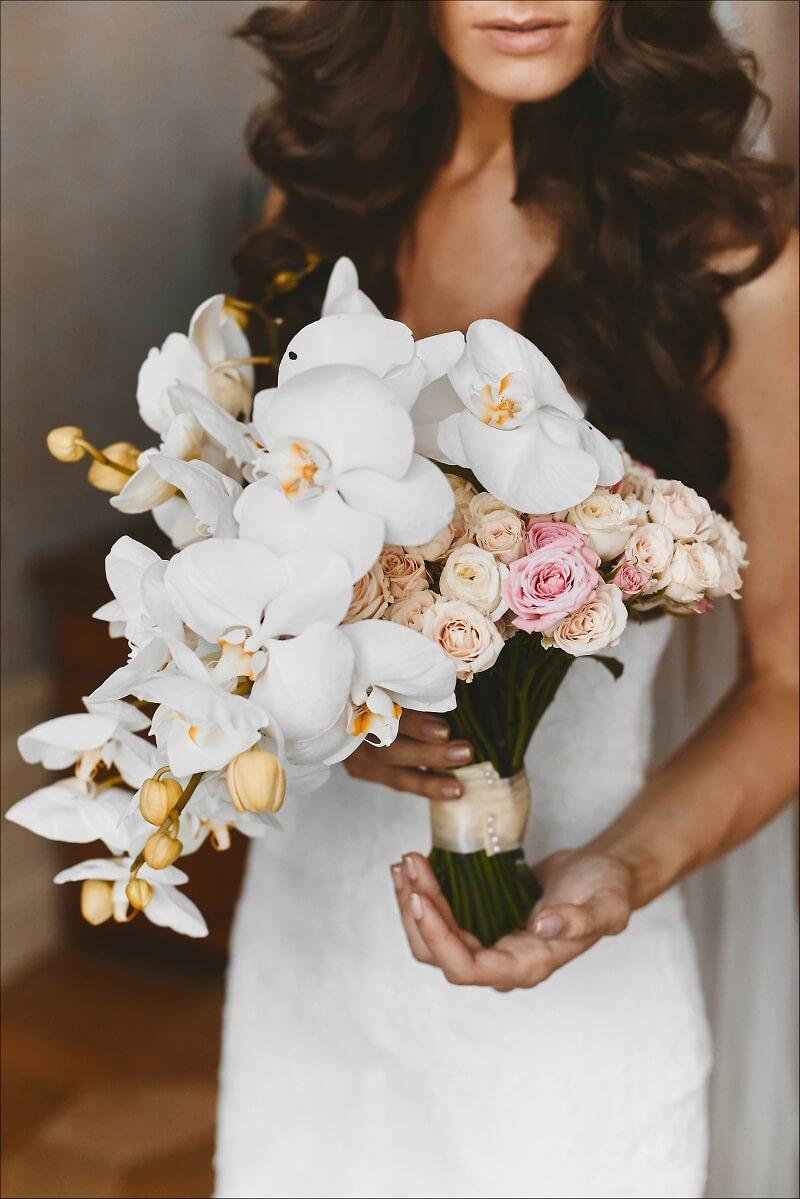 Hochzeit in Blushtönen, Blush Hochzeit Pastell, Hochzeit Altrosa, Brautstrauß Orchideen, Brautstrauß originell