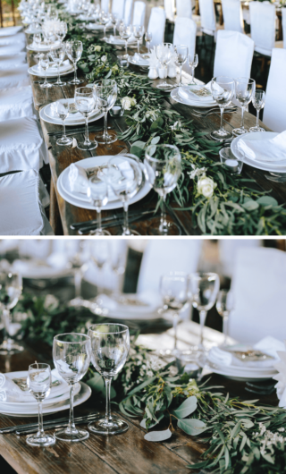 Greenery Tischdeko mit Tischgirlande