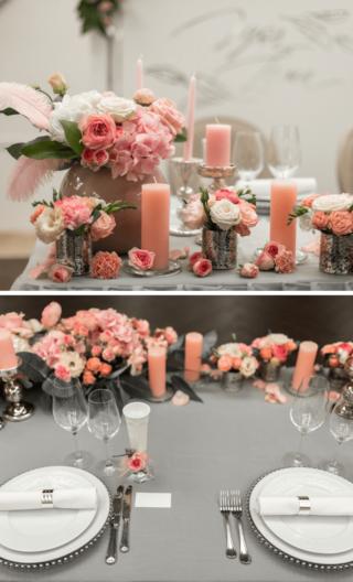 Brauttisch in Apricot