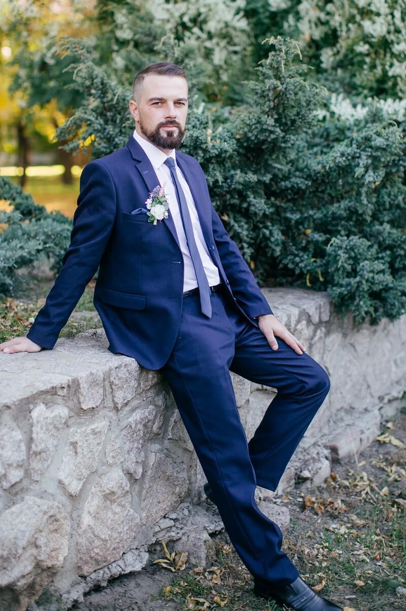 Bräutigam Anzug blau