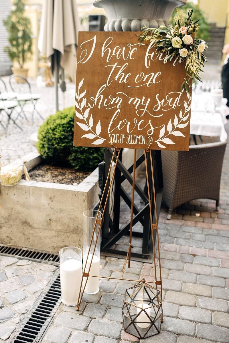Hochzeitsspruch Schild