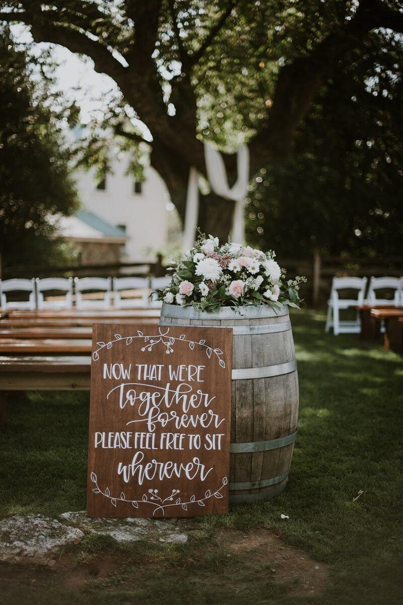 Hochzeitsschild Trauung