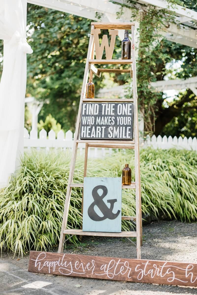 Hochzeitsschilder Ideen, Leiter Deko Hochzeit