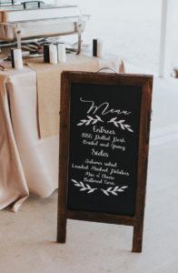 Hochzeit Schild Menükarte