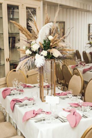 Tischdeko elegant mit Pampasgras