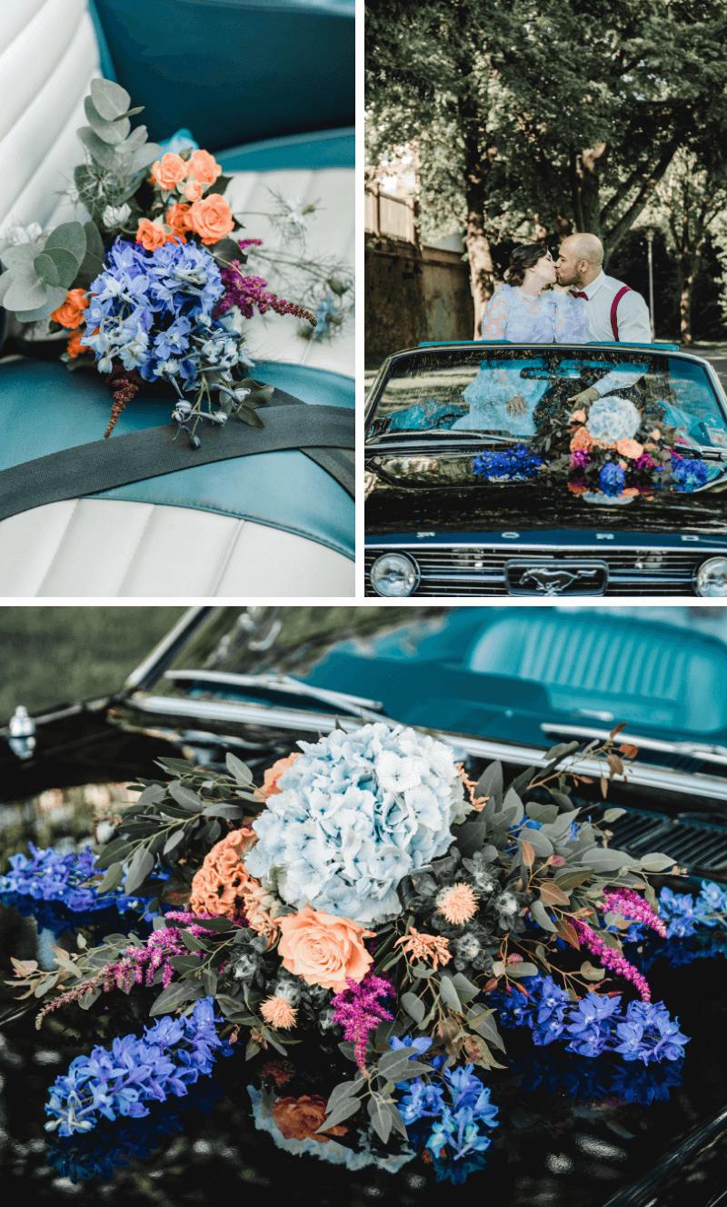Hochzeitsauto Schmuck, Sommerhochzeit