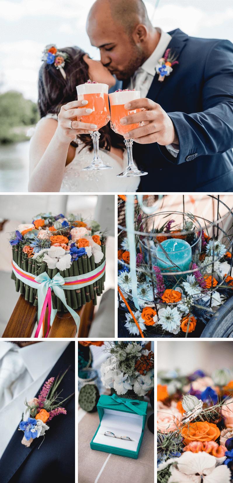 Hochzeit in Türkis, Blau und Orange