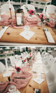 Tischdeko rosa Tischläufer, Hochzeit rosa