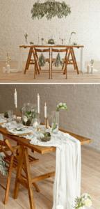 weiße Hochzeitsdeko, Tischdeko elegant