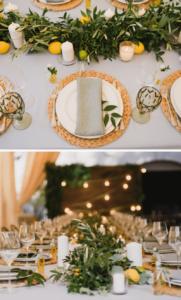 Tischdeko grün, Tischgirlande Hochzeit, Hochzeitsdeko lange Tische