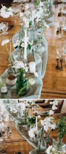Tischdeko grün weiß, Hochzeitsdeko lange Tische