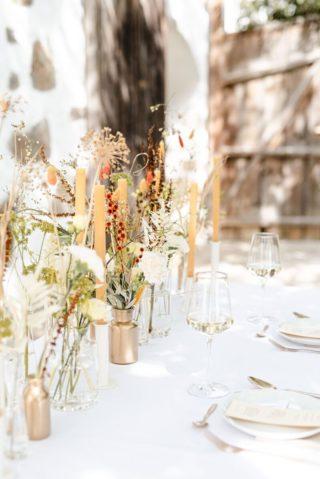 Tischdeko natürlich, Hochzeitsdeko Naturtöne, Hochzeit Tischdeko Vasen