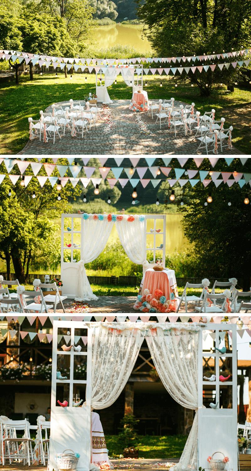 Vintage Hochzeit, Trauung im Grünen