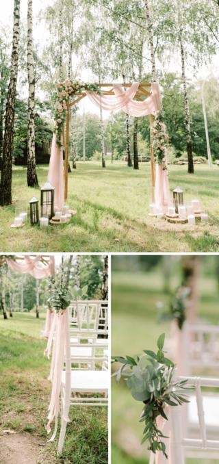 Hochzeit im Wald, Trauung Deko Rosa