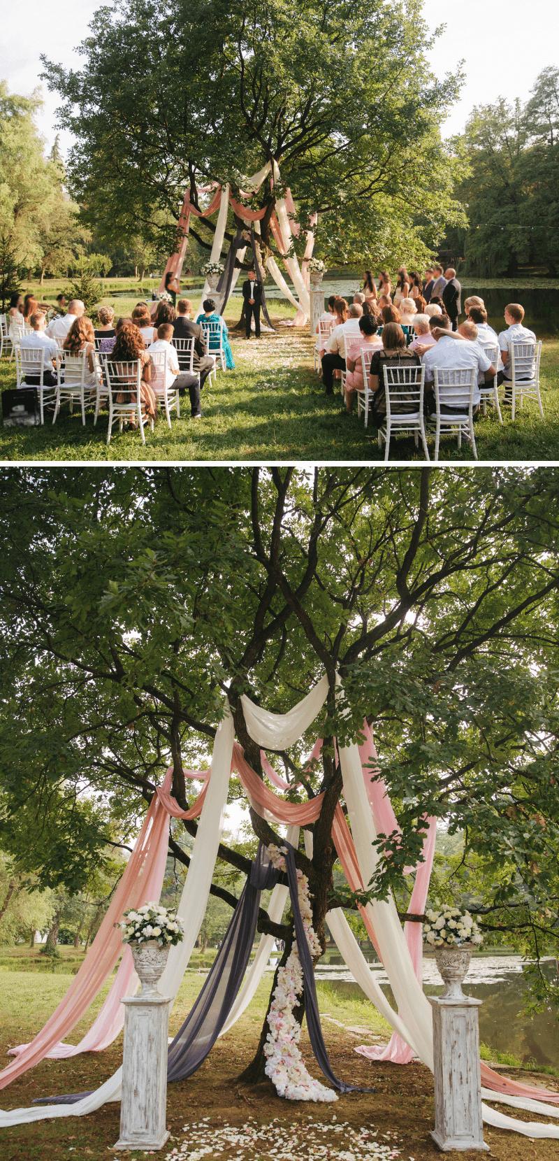 Hochzeitsbogen Baum, Trauung im Freien