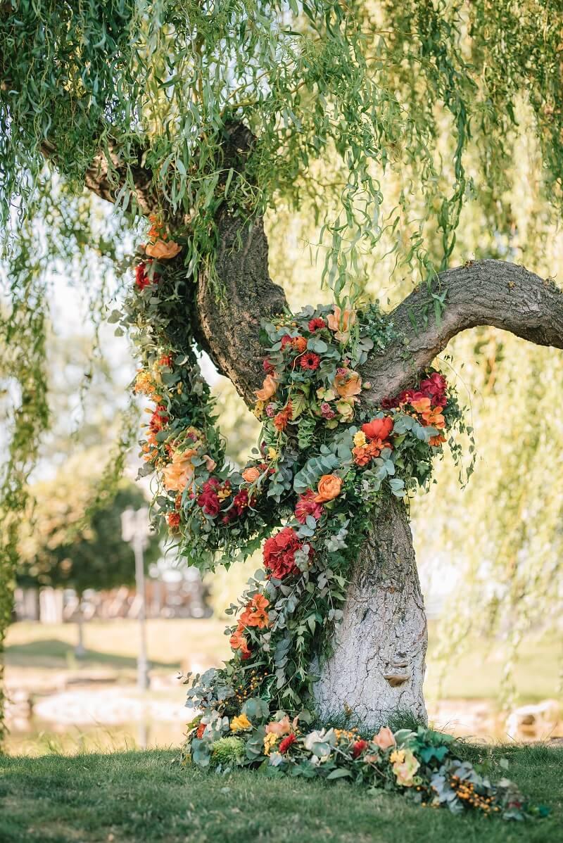 Trauung Deko, Hochzeitsbogen Baum, originelle Hochzeitsideen