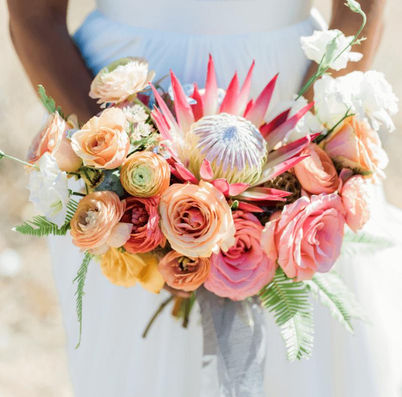 Brautstrauß Sommer, Brautstrauß bunt, exotische Hochzeitsblumen
