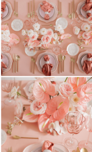 Tischdeko Rosa, Hochzeitsblumen Rosa
