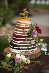 Waldhochzeit Hochzeitstorte Nake Cake bunt
