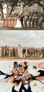 Gruppenfotos mit Brautjungfern und Groomsmen