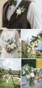 Hochzeitsdeko in Weiß grün