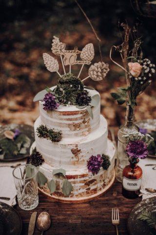Hochzeitstorte Waldhochzeit, Naked Cake, origineller Cake Topper