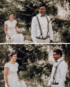 Brautpaar Shooting, First Look im Wald