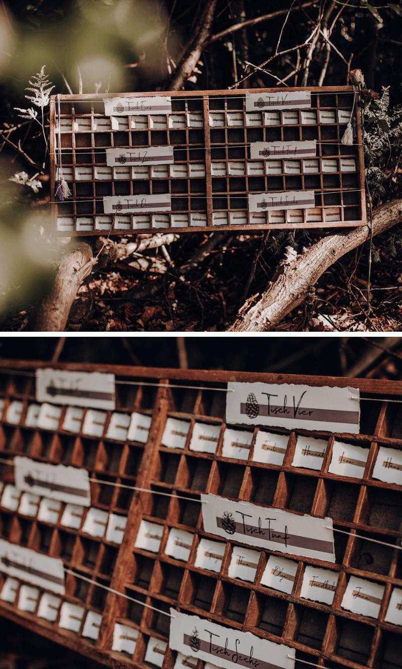 Origineller Sitzplan, Waldhochzeit Ideen Vintage