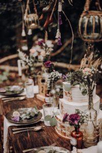 Tischdeko Hochzeit im Wald