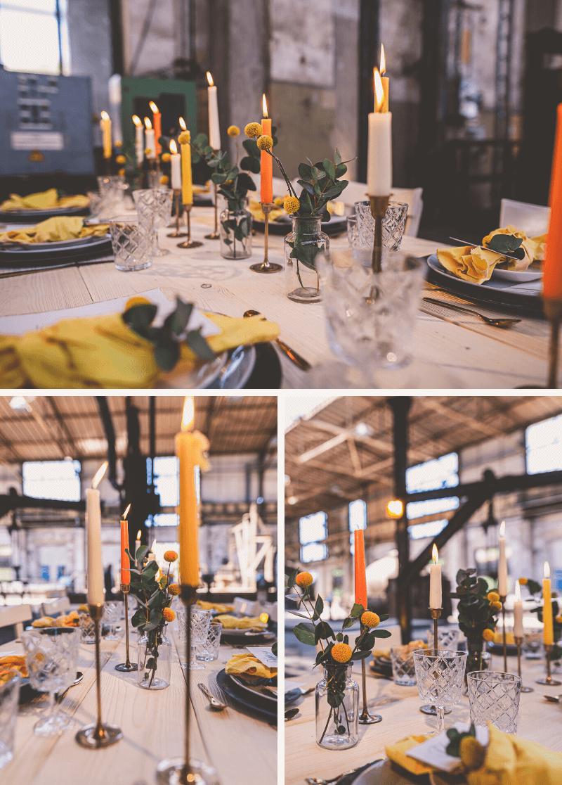 Hochzeit Tischdeko gelb