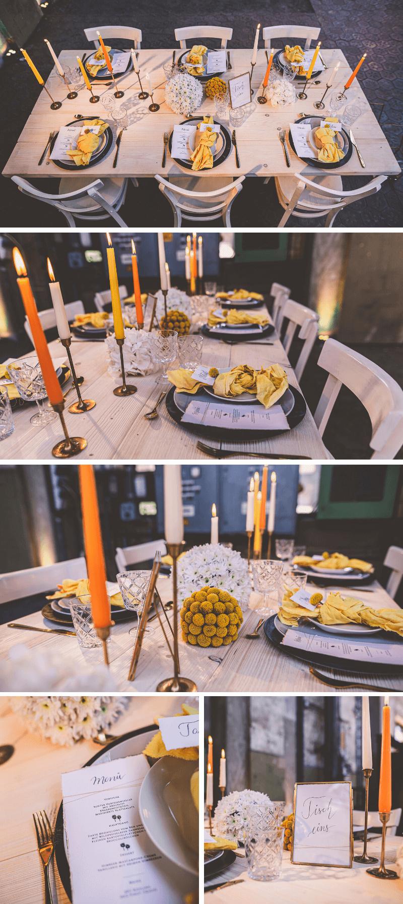 Hochzeit Tischdeko in Gelb