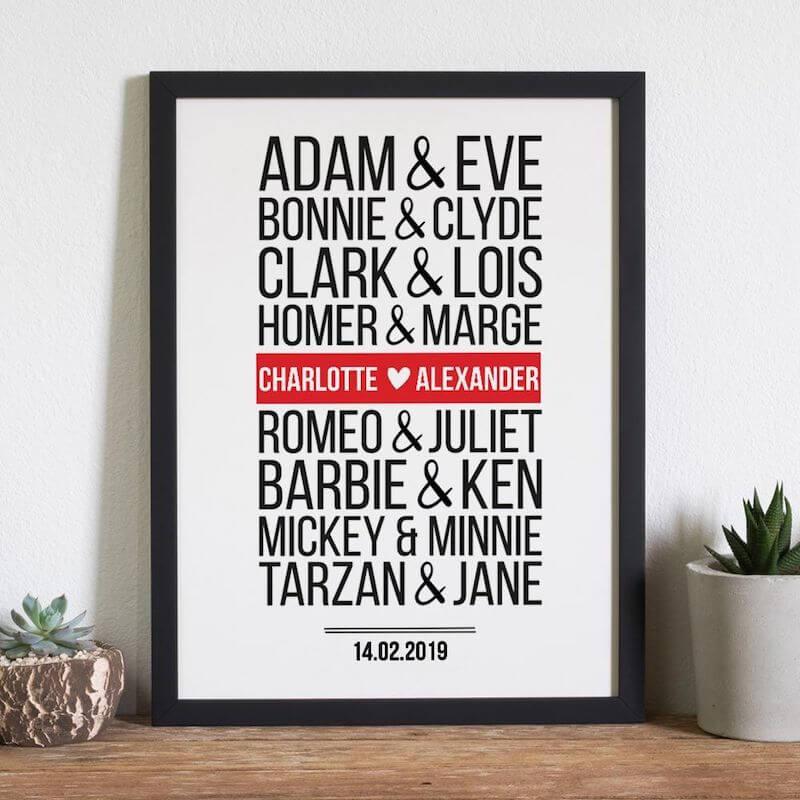 Brautpaar Poster personalisiert