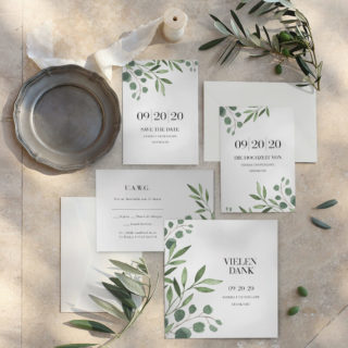 Hochzeitseinladung Aquarell Floral Eukalyptus