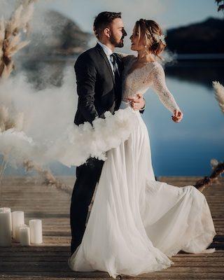 Moderne Fine Art Wedding, Winterhochzeit mit Pampasgras