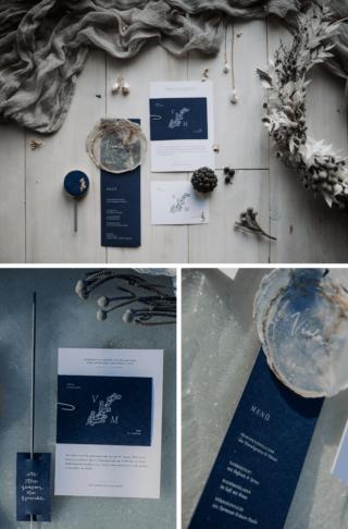Dusty Blue Hochzeitseinladung, Hochzeitskarten blau, Winterhochzeit Einladung