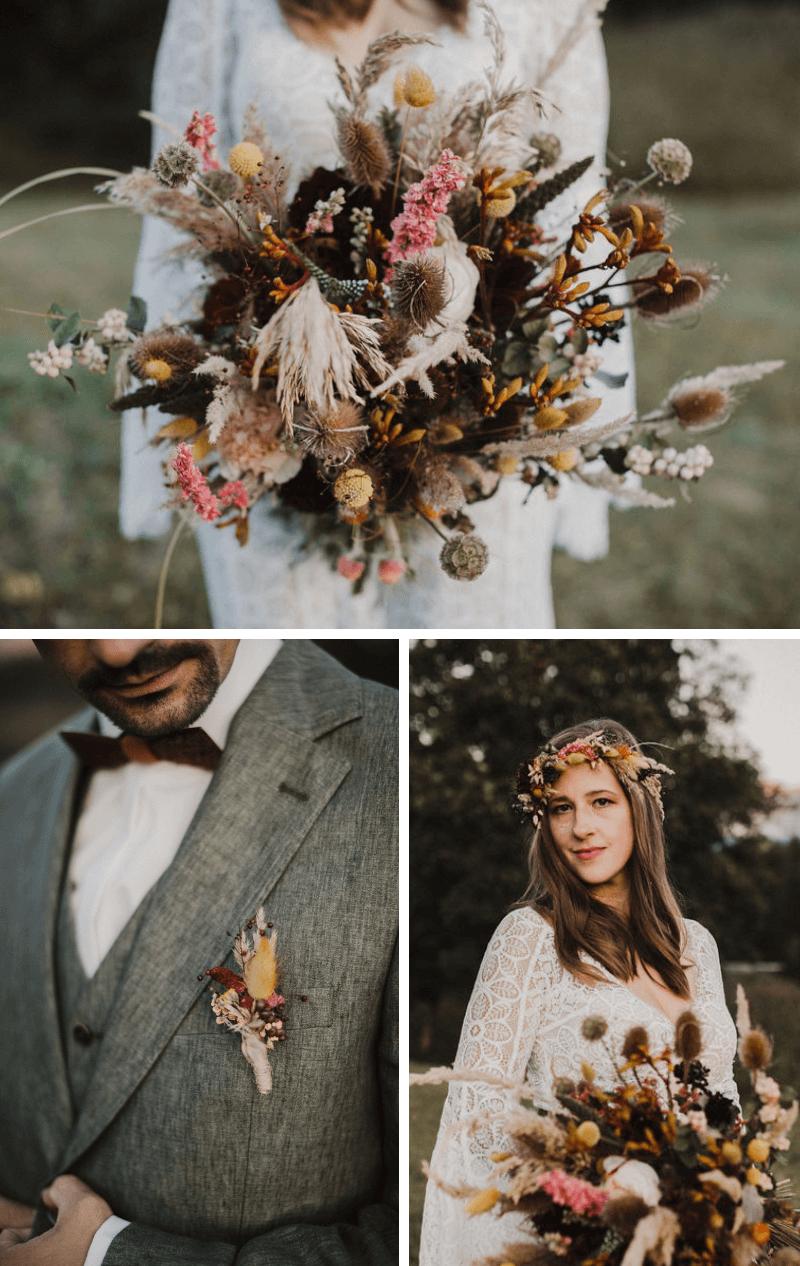 Boho Brautpaarshooting, Boho Hochzeitsblumen, Boho Hochzeit Brautstrauß