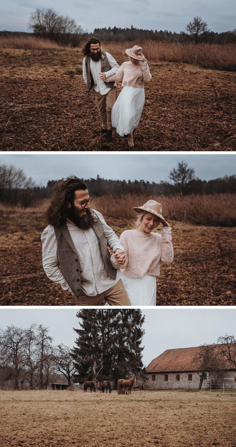Brautpaarshooting Winter, Boho Brautpaar