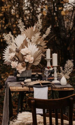 Boho Hochzeit Tischdeko mit Trockenblumen