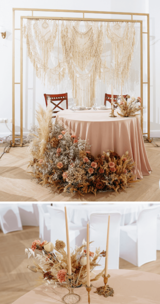 Hochzeitsdeko mit getrockneten Blumen